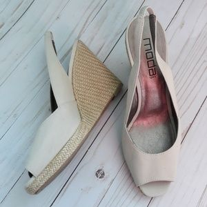 "2/$25 Moda Taupe Wedge Sandals Sz 10M 4.5"" Heels"